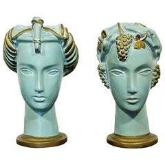 Art Deco Pair of Plaster Greek Women Faces Table Sculptures Blue Gold, 1930s