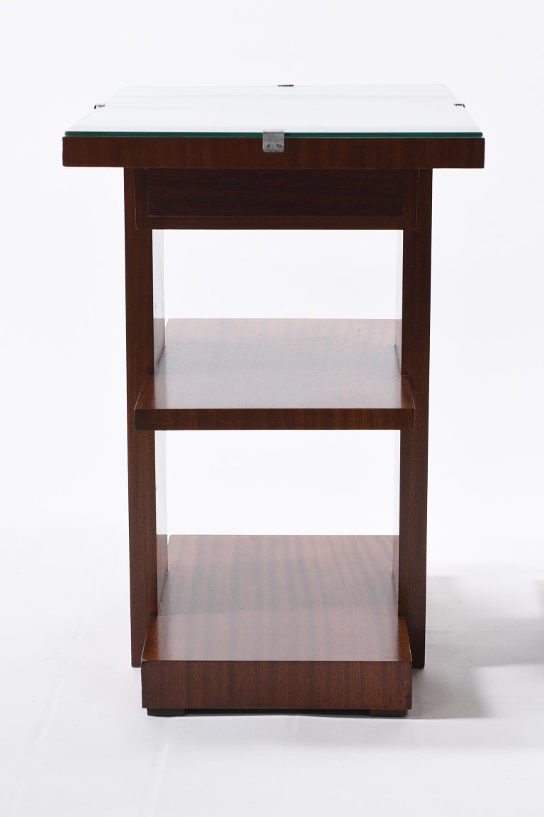 Art Deco Pair of Side Table or Nightstands with a Drawer and Shelves For Sale 4