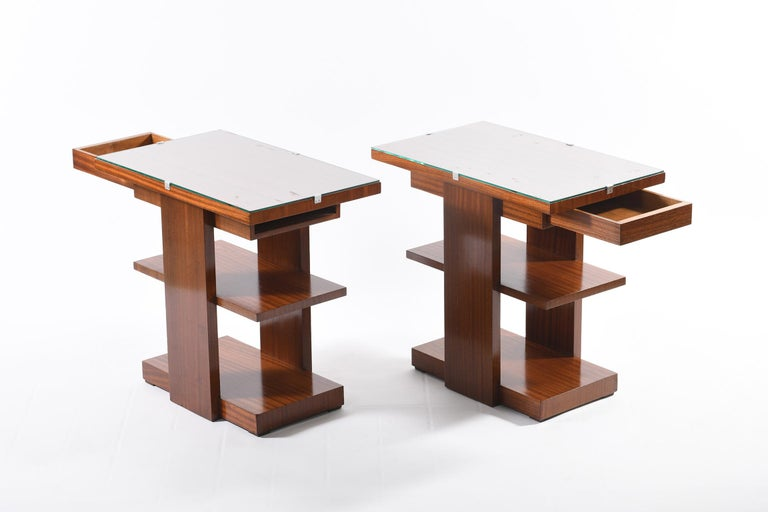 French Art Deco Pair of Side Table or Nightstands with a Drawer and Shelves For Sale