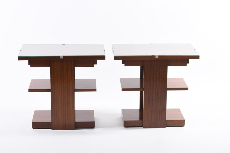 Mid-20th Century Art Deco Pair of Side Table or Nightstands with a Drawer and Shelves For Sale