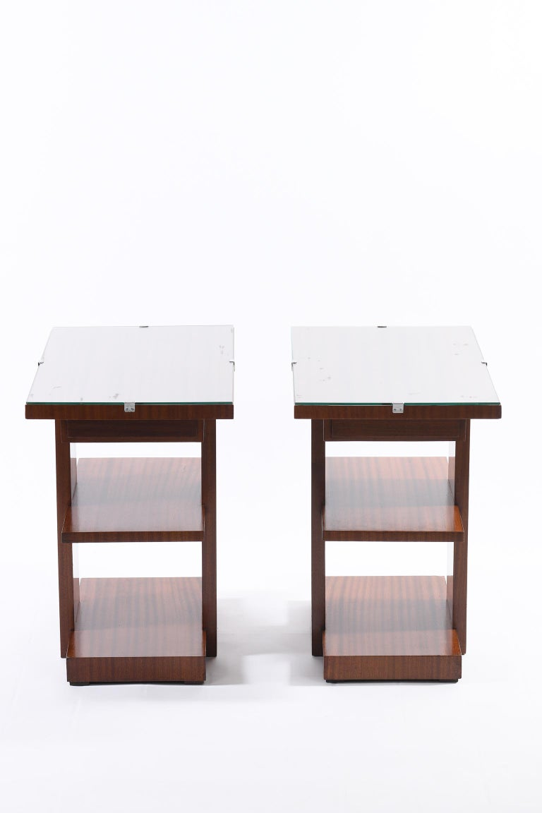 Wood Art Deco Pair of Side Table or Nightstands with a Drawer and Shelves For Sale