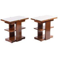 Art Deco Pair of Side Table or Nightstands with a Drawer and Shelves