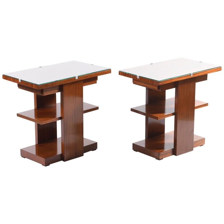 Art Deco Pair of Side Table or Nightstands with a Drawer and Shelves For Sale