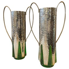 Art Deco Pair of Silver Plate and Green Glass English Vases, circa 1930