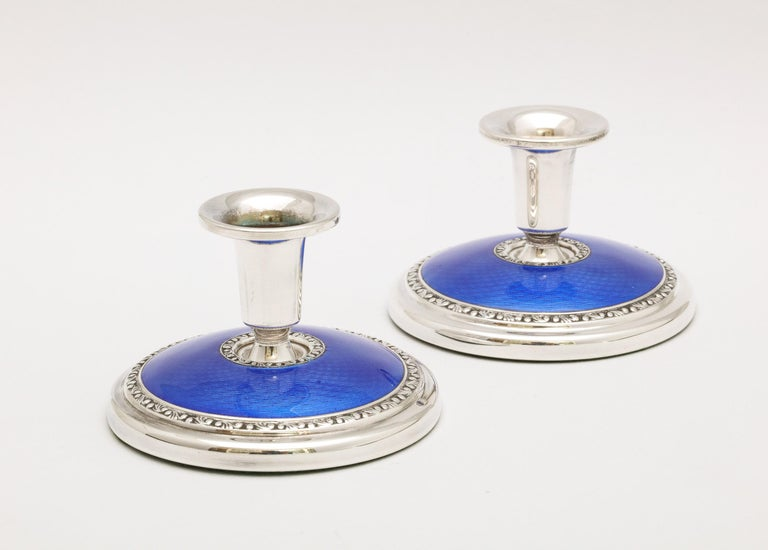 Art Deco Pair of Sterling Silver and Dark Blue Guilloche Enamel Candlesticks 5