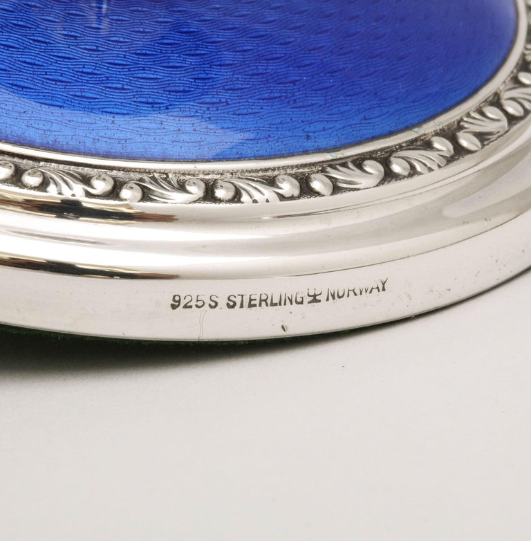 Mid-20th Century Art Deco Pair of Sterling Silver and Dark Blue Guilloche Enamel Candlesticks