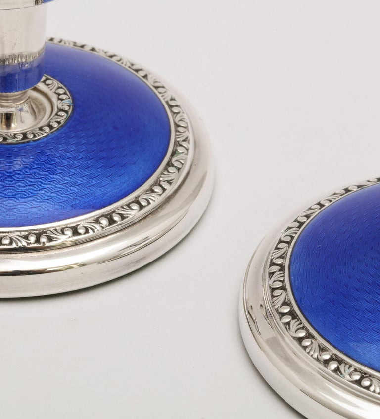 Art Deco Pair of Sterling Silver and Dark Blue Guilloche Enamel Candlesticks 1