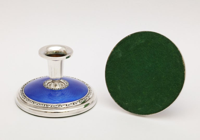 Art Deco Pair of Sterling Silver and Dark Blue Guilloche Enamel Candlesticks 4