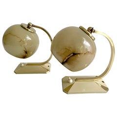 Pair of 1930s Art Deco Bauhaus Table Lamps Lights, Opaline Marble Glass Brass