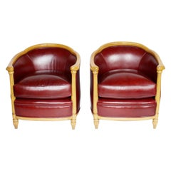 Art Deco Pair of Tub Chairs Upholstered in Red Leather, circa 1930