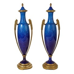 Art Deco Pair of Urn-Shaped Ceramic Vases by Sevres, France