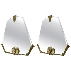 Art Deco Pair of Wall Mirrors in Hexagonal Shape