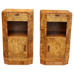 Art Deco Pair of Walnut Bedside Nightstand Cabinet Tables, England, c1930