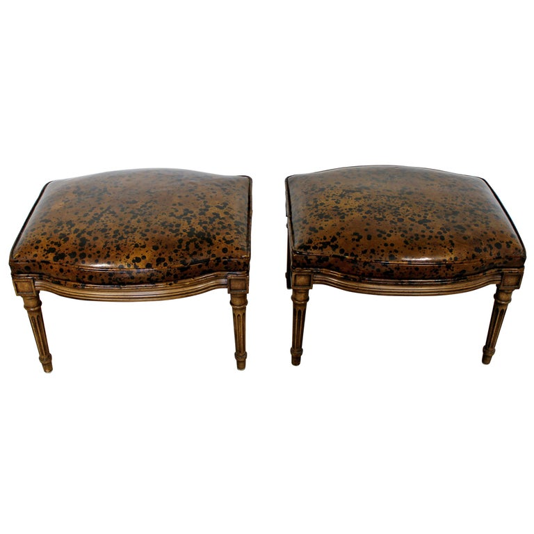 Admirable Art Deco Pair Oil Spot Wood Stools Benches Seats Ottomans Theyellowbook Wood Chair Design Ideas Theyellowbookinfo