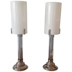 Pair of Art Deco lamp with nickel finish and vintage glass.
