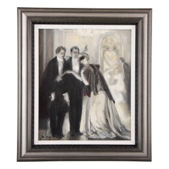 Art Deco Painting 1920s Ball Scene Lady with Mask & Men in Tuxedos by J. M. Avy