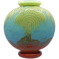 Art Deco Palmier Vase by Le Verre Francais & Charder