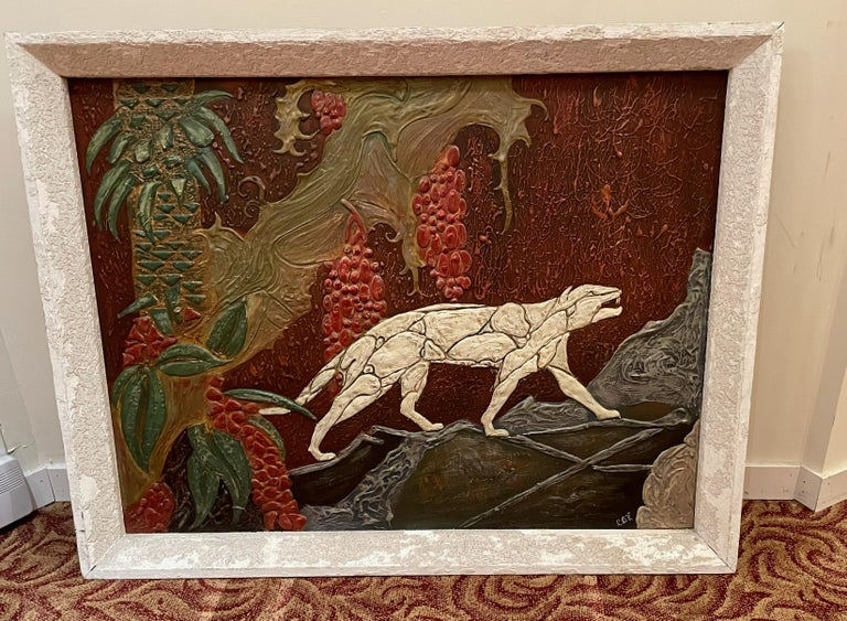 Art Deco Panther Painting, French, 1920s For Sale 5