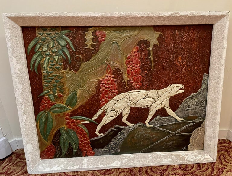 Art Deco painting depicting panther in the wild. Unusual dimensional treatment with all the paint. Look closely at the texture of this piece. In an original frame that also has a painted finish. It appears to all be painted on a board that is