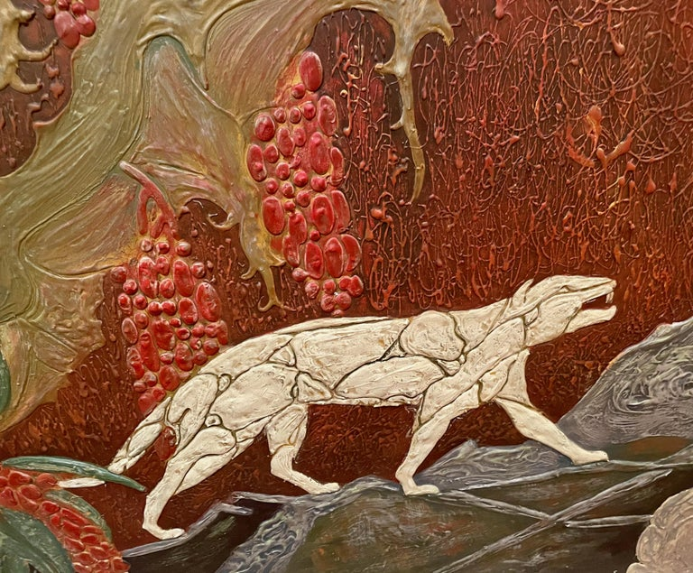 Art Deco Panther Painting, French, 1920s In Good Condition For Sale In Oakland, CA