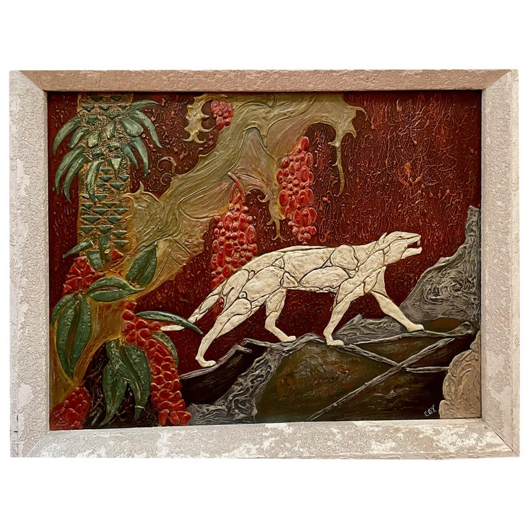 Art Deco Panther Painting, French, 1920s For Sale