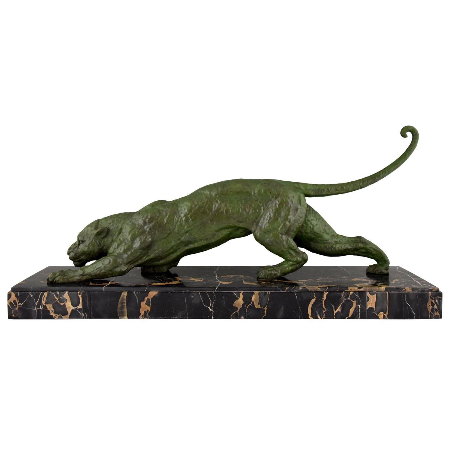 Art Deco Panther Sculpture Demetre H. Chiparus 1930 Impressive Size France