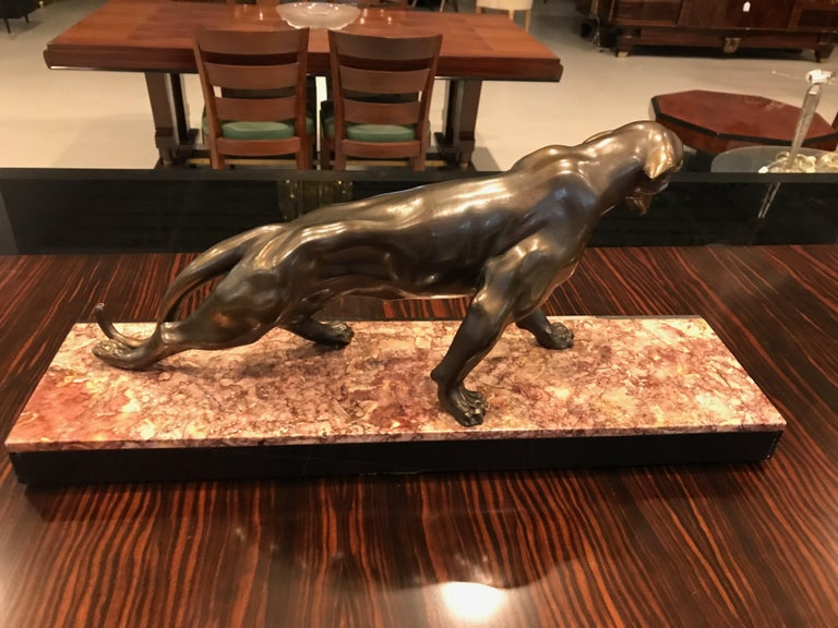 Art Deco Panther Sculpture on Marble Base For Sale 6