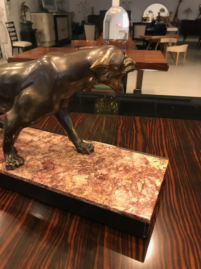Art Deco Panther Sculpture on Marble Base For Sale 7