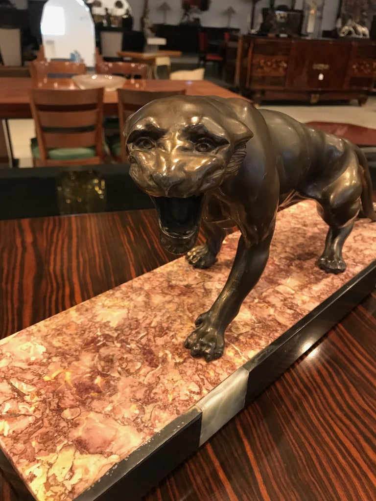 20th Century Art Deco Panther Sculpture on Marble Base For Sale