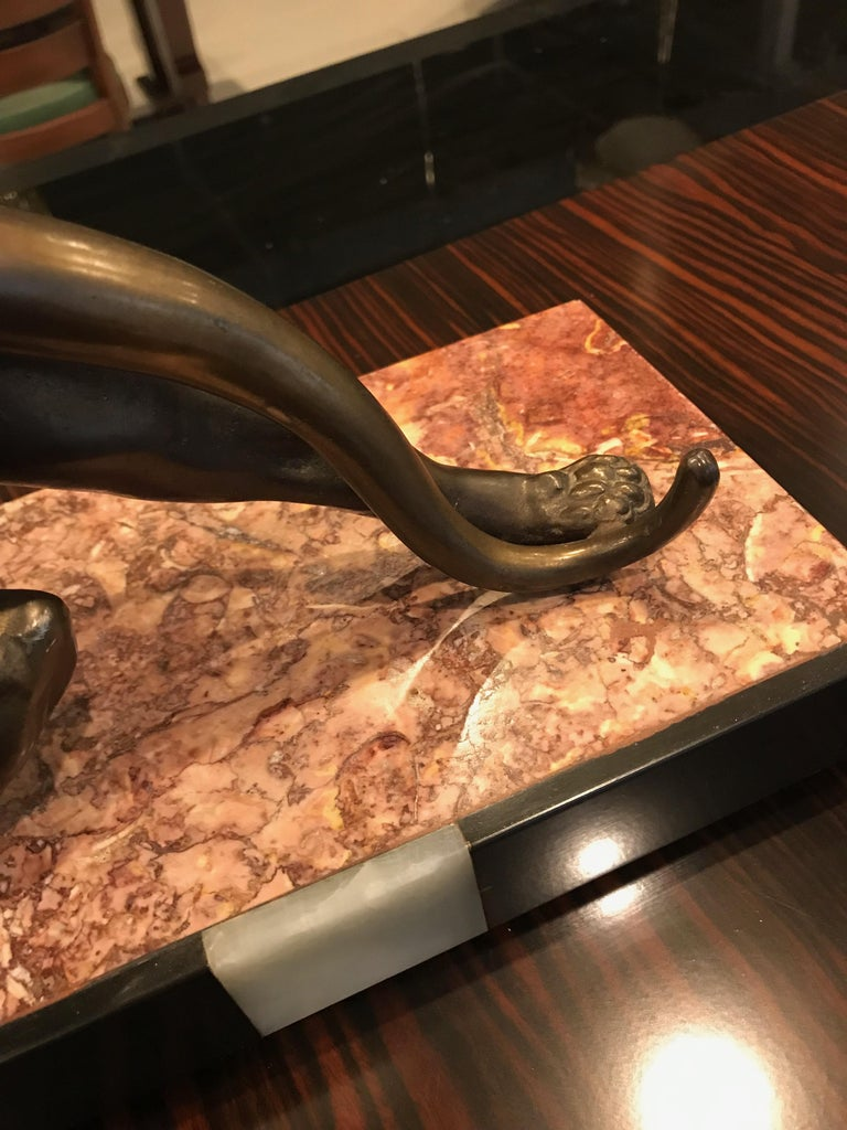 Art Deco Panther Sculpture on Marble Base For Sale 4
