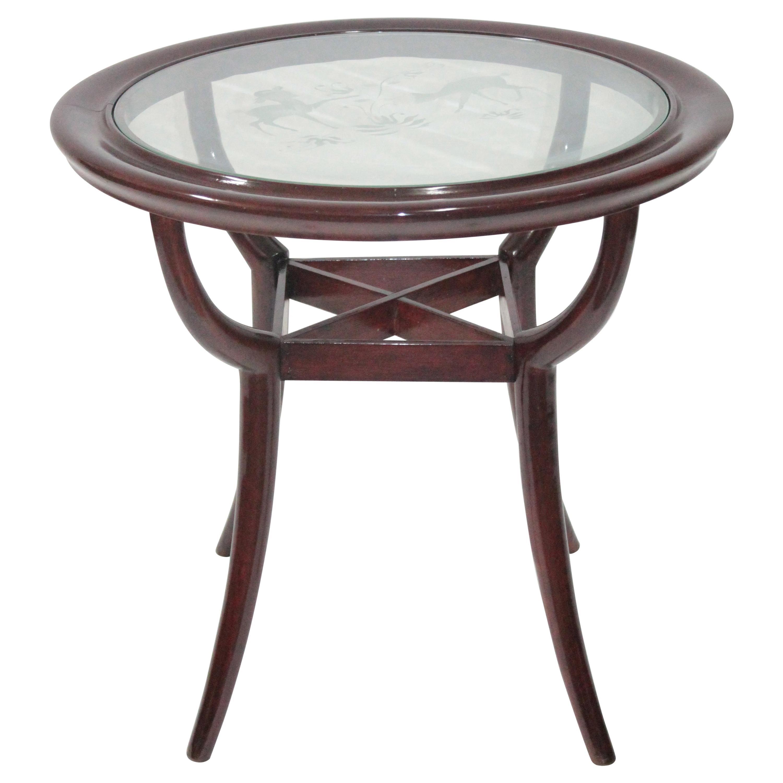Art Deco Paolo Buffa Design Round Coffee Table, 1940s