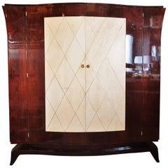 Art Deco Parchment Armoir Wardrobe Style Pascaud, France, 1935