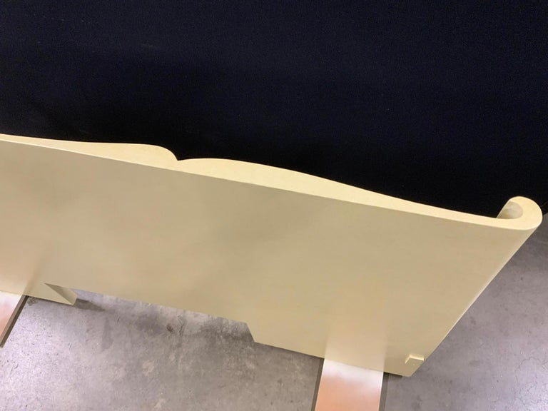 Art Deco Parchment Lacquered Queen Headboard For Sale 2