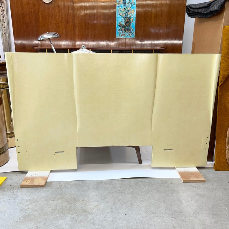 Art Deco Parchment Lacquered Queen Headboard For Sale 4