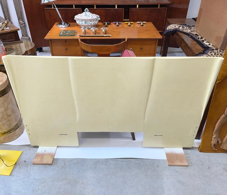 Art Deco Parchment Lacquered Queen Headboard For Sale 5