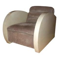 Art  Deco  Parchment  & Suede Lounge Chair
