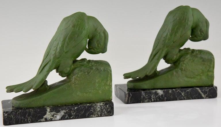 Art Deco parrot bookends by Georges Van de Voorde France 1925 For Sale 2