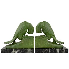 Art Deco parrot bookends by Georges Van de Voorde France 1925