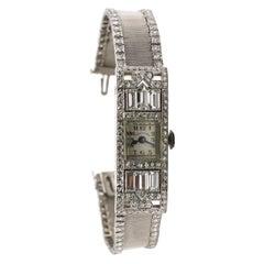 Art Deco Patek Philippe Platinum Mesh Diamond Ladies Dress Watch