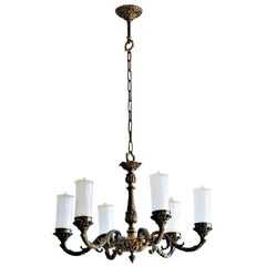 Art Deco Patinated Bronze and Frosted Glass Six-Light Chandelier, circa 1930