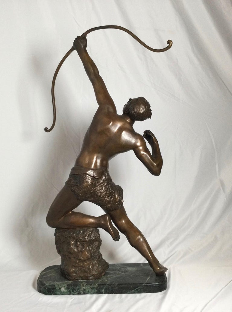 Art Deco Patinated Bronze Figure of an Archer by Artist Kelety For Sale 1