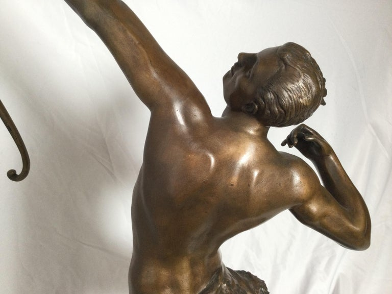 Art Deco Patinated Bronze Figure of an Archer by Artist Kelety For Sale 3