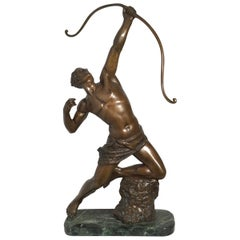 Art Deco Patinated Bronze Figure of an Archer by Artist Kelety