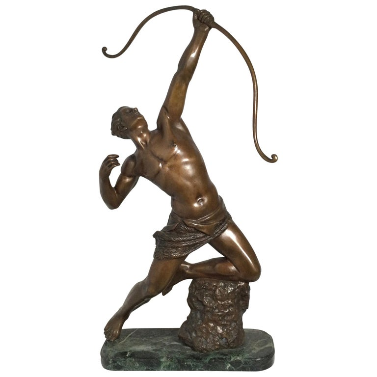 Art Deco Patinated Bronze Figure of an Archer by Artist Kelety For Sale