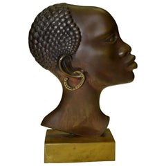 Art Deco Patinated Bronze Profile Bust of an African Woman
