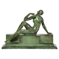 Art Deco Patinated Figurative Bronze Sculpture Signed Marguerite Anne de Blonay