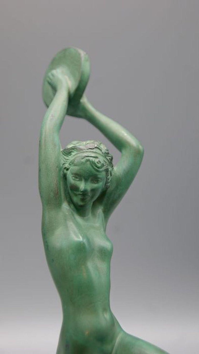 Art Deco patinated metal (blend of metals and bronze) sculpture, named Esmeralda, by the French female artist Raymonde Guerbe (1894–1995) pseudonym for Andrée Guerval.