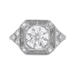 Art Deco Patterned Diamond Solitaire Engagement Ring