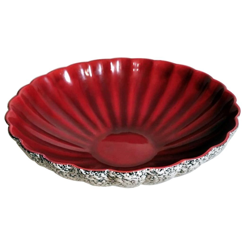 Art Deco Paul Milet Sevrès France Red and White Glazed Ceramic Bowl