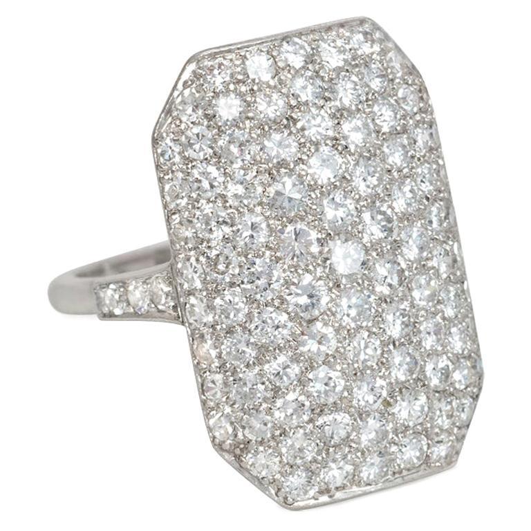 Art Deco Pavé Diamond and Platinum Octagonal Plaque Ring